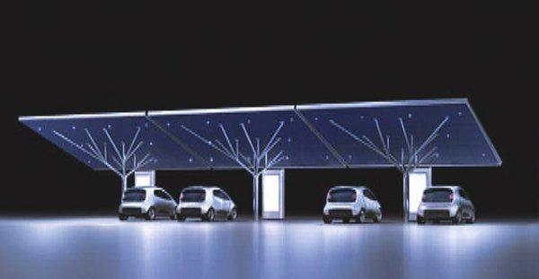 pensilina fotovoltaica e stazione di ricarica per auto elettriche