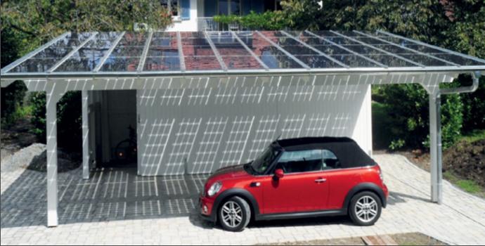 pannelli fotovoltaici vetro-vetro su doppio posto auto