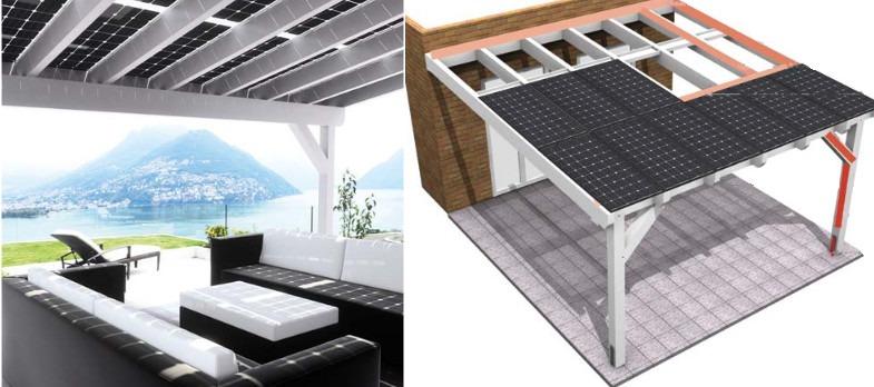 veranda system con pannelli fv vetro vetro