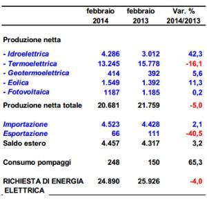 rapporto consumi elettrici italia 2014